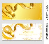 horizontal gift invitation with ... | Shutterstock .eps vector #755942227