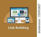seo link building | Shutterstock .eps vector #755951827