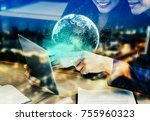 businessman and woman using the ...   Shutterstock . vector #755960323