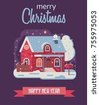 merry christmas and happy new... | Shutterstock .eps vector #755975053