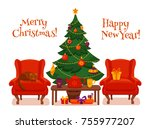 christmas room interior in... | Shutterstock .eps vector #755977207