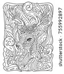 zen doodle coloring page for... | Shutterstock .eps vector #755992897