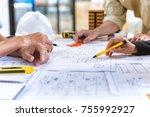 image of team engineer checks... | Shutterstock . vector #755992927