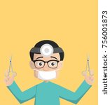 cartoon surgeon with medical... | Shutterstock .eps vector #756001873