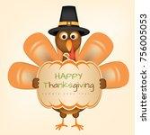 happy thanksgiving turkey | Shutterstock .eps vector #756005053