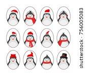 set of different penguins.... | Shutterstock .eps vector #756005083