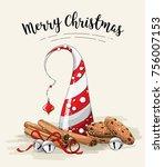 christmas still life  brown... | Shutterstock .eps vector #756007153