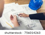 engineer and architect team... | Shutterstock . vector #756014263