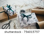 christmas or new year gift... | Shutterstock . vector #756015757