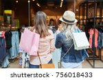 two women shopping as customers ... | Shutterstock . vector #756018433