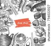 vector menu design with ink... | Shutterstock .eps vector #756022027
