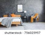 orange blanket on chair in dark ... | Shutterstock . vector #756025957