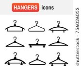 hangers black icons. cloth... | Shutterstock . vector #756026053