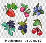 big collection of hand drawn... | Shutterstock . vector #756038953