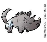 cartoon halloween werewolf   Shutterstock .eps vector #756045313