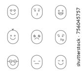 smiles linear icons set.... | Shutterstock . vector #756045757