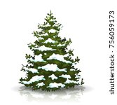 christmas pine tree with snow ... | Shutterstock .eps vector #756059173