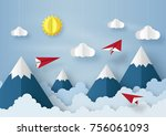 origami made red paper airplane ... | Shutterstock .eps vector #756061093