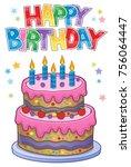 happy birthday thematics image... | Shutterstock .eps vector #756064447