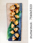 Small photo of Foie gras sushi set on plate - Japanese food style
