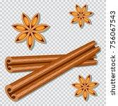cinnamon sticks and anise star... | Shutterstock .eps vector #756067543