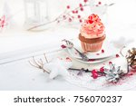 cupcake with white and red...   Shutterstock . vector #756070237