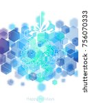 hi tech christmas ball made of... | Shutterstock .eps vector #756070333