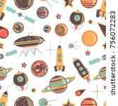 pattern on a space theme. it... | Shutterstock .eps vector #756072283