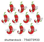 a set of chili pepper character ... | Shutterstock .eps vector #756073933