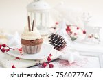 cupcake with white cream over...   Shutterstock . vector #756077767