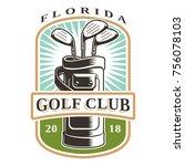 golf clubs in bag vector logo... | Shutterstock .eps vector #756078103