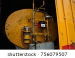 fuel tank with meter in yellow... | Shutterstock . vector #756079507