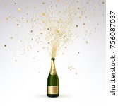 champagne splashes of gold... | Shutterstock .eps vector #756087037