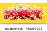 yellow and red graffiti...   Shutterstock .eps vector #756093133