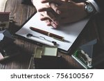 hand of businessman selling... | Shutterstock . vector #756100567