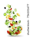 sliced vegetables falling into... | Shutterstock . vector #756101677