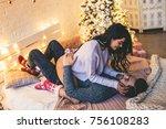 passionate romantic couple... | Shutterstock . vector #756108283
