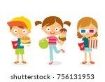 children with fast food and... | Shutterstock .eps vector #756131953