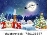 meryy christmas and happy new... | Shutterstock .eps vector #756139897