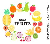 fruits and berries on white... | Shutterstock .eps vector #756147967