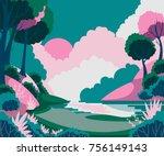 fantasy landscape with sun ...   Shutterstock .eps vector #756149143