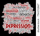vector conceptual depression or ...   Shutterstock .eps vector #756151867