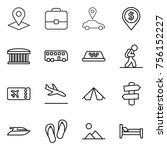thin line icon set   pointer ... | Shutterstock .eps vector #756152227