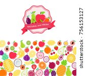 fruit logo  mixed juicy fruits... | Shutterstock .eps vector #756153127