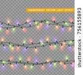 christmas lights isolated... | Shutterstock .eps vector #756155893