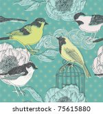 birds and flowers. seamless pattern - stock vector