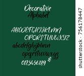 modern calligraphy alphabet.... | Shutterstock .eps vector #756178447