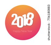 2018 colorful logo happy new... | Shutterstock .eps vector #756180883