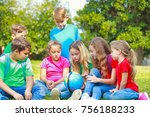children with a globe are... | Shutterstock . vector #756188233