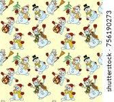 seamless pattern of snowmen in... | Shutterstock .eps vector #756190273